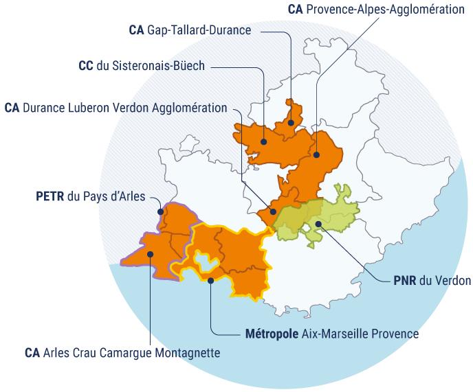 Carte des membres de l' Aupa et ses territoires