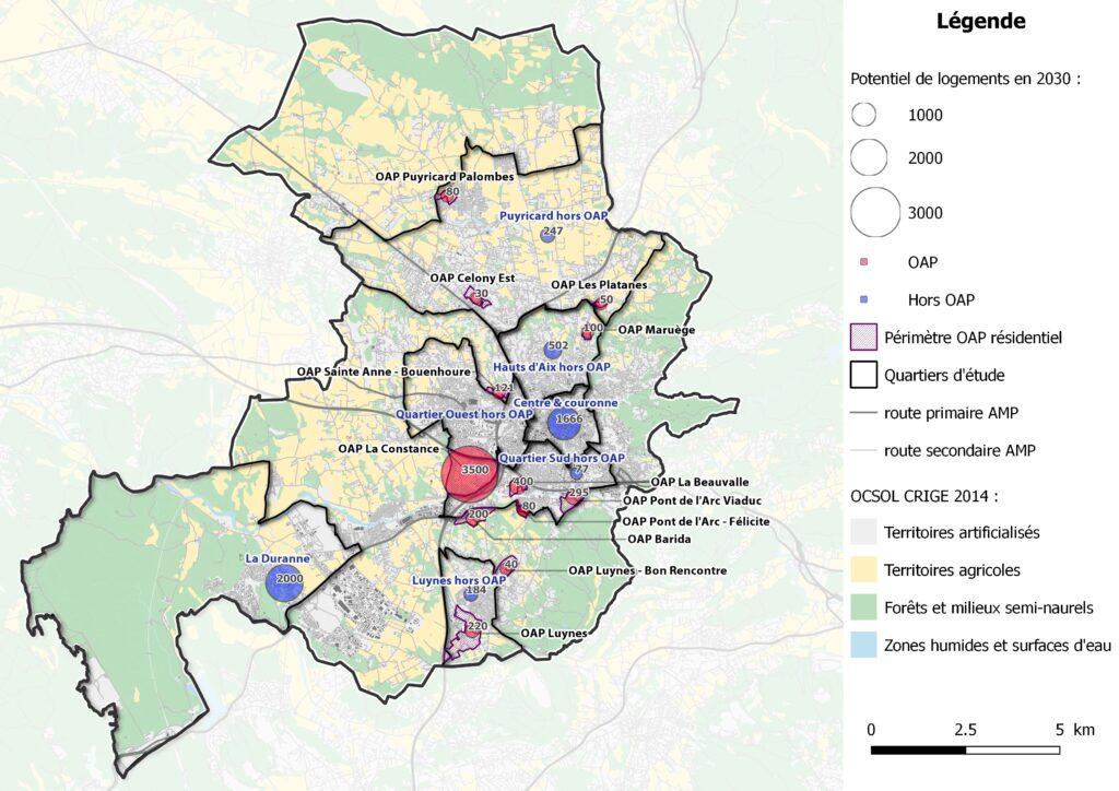 Aix 2030 - Carte projection logements 2030