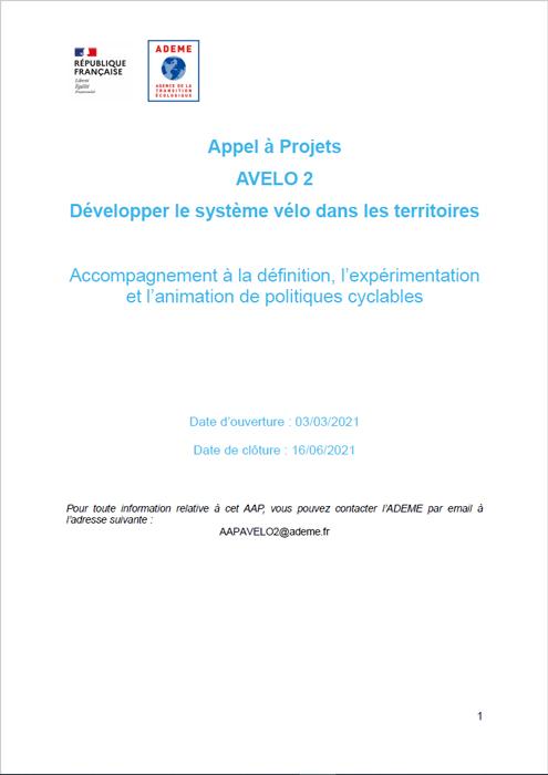 APPEL A PROJETS : Développer le système vélo dans les territoires